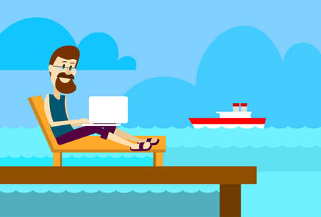 working place: Man On Sunbed Using Laptop Freelance Beach Remote Working Place Summer Vacation Holiday Tropical Ocean Island Flat Vector Illustration Illustration
