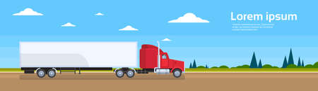 intercity: Truck Trailer Road Cargo Shipping Freight Transportation Lorry Car Delivery Banner Flat Vector Illustration Illustration