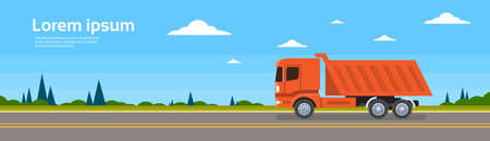 hauling: Lorry Tipper Truck Dump Car On Road Cargo Shipping Delivery Freight Transportation Banner Flat Vector Illustration