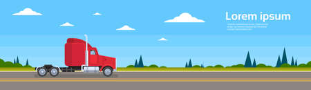 hauling: Truck Empty Without Trailer On Road Cargo Shipping Delivery Banner Flat Vector Illustration