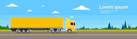 truckload: Truck Trailer Road Cargo Shipping Freight Transportation Lorry Car Delivery Banner Flat Vector Illustration Illustration