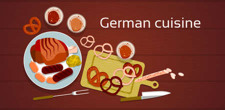 baked potatoes: German Cuisine Traditional Sausages Pretzel Meat Beer Set Flat Vector Illustration