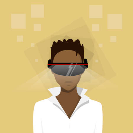 woman profile: Business Woman African American Ethnic Profile Virtual Reality Cyber Play Video Game Wear Digital Glasses Profile Icon Female Avatar Hipster Businesswoman Flat Vector Illustration Illustration