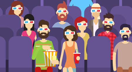 watching movie: People Group Sit Watching Movie In Cinema 3d Glasses With Popcorn Cola Flat Vector Illustration Illustration