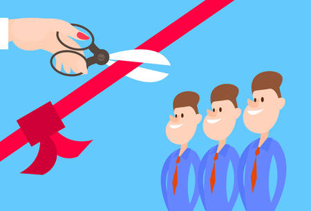 introducing: Grand Opening Hand With Scissors Cut Red Ribbon Bow Business Team Staff Presentation Flat Vector Illustration