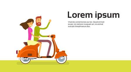 motorrad frau: Paar Fahrt Motorrad-Roller-Wohnung Vector Illustration Illustration