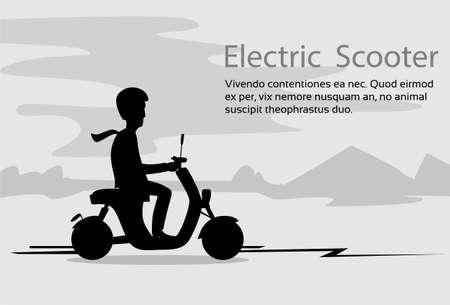 Man Silhouette Ride Moped Electric Scooter, Motorfiets helm Natuur zwarte achtergrond vector illustratie