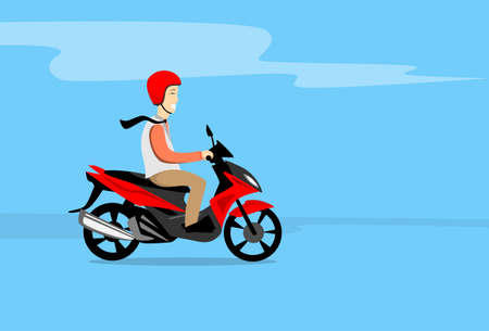 Man Ride Motorcycle Wearing Helmet Copy Space Flat Vector Illustration