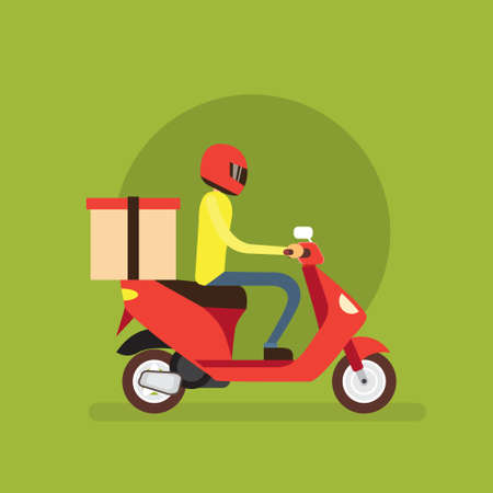 delivery boy: Delivery Boy Ride Scooter Motorcycle Flat Vector Illustration Illustration