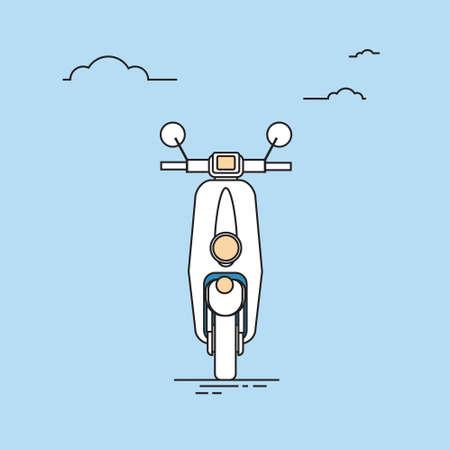 moped: Moped Motorcycle Transport Thin Line Vector Illustration Illustration