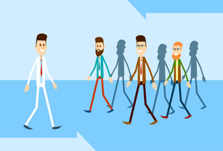 stand out from the crowd: Man Move Stand Out From Crowd Individual Business People Group Concept Flat Vector Illustration