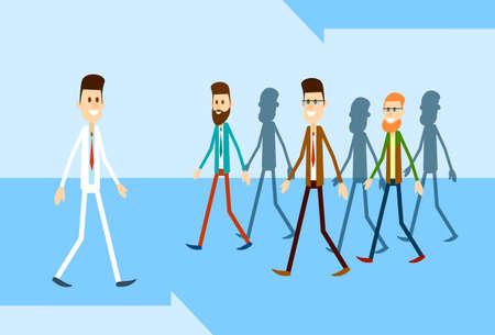 Man Bewegen Heben Sie sich von Crowd Individual Business People Group Konzept Wohnung Vector Illustration
