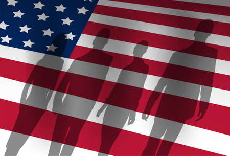 american revolution: Silhouette People Group Over United States American Flag Background Vector Illustration