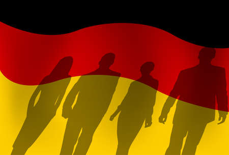 social history: Silhouette People Group Over German Flag Background Vector Illustration