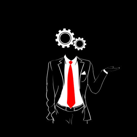 red tie: Man Silhouette Suit Red Tie Cog Wheel Head Black Background Contour Outline Vector Illustration Illustration