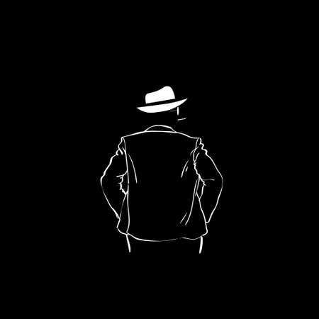 man rear view: Man Silhouette Suit White Hat Rear View Black Background Contour Outline Vector Illustration Illustration