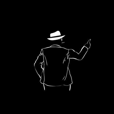 man rear view: Man Silhouette Suit White Hat Rear View Point Finger To Copy Space Black Background Contour Outline Vector Illustration