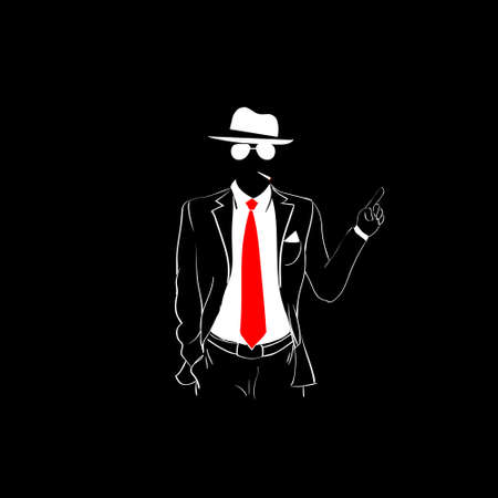 red tie: Man Silhouette Suit Red Tie Wear Glasses White Hat Point finger Up To Copy Space Black Background Contour Outline Vector Illustration Illustration