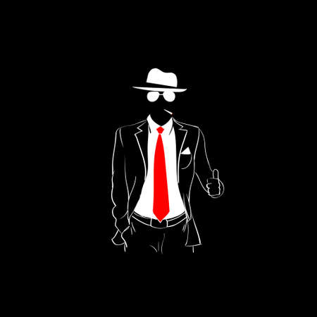 red tie: Man Silhouette Suit Red Tie Wear Glasses White Thumb Up Gesture Black Background Contour Outline Vector Illustration Illustration