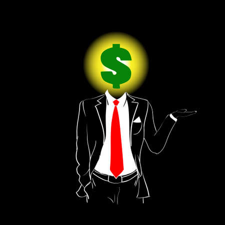 red tie: Man Silhouette Suit Red Tie Dollar Sign Head Black Background Contour Outline Vector Illustration