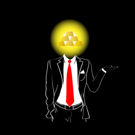 Man Silhouette Suit Tie Red Gold Bar Head Black Background Contour Outline Vector Illustration