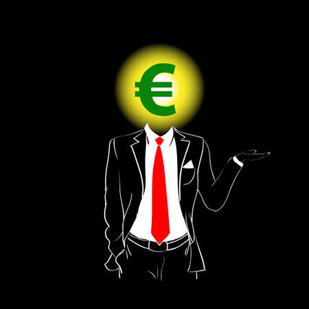 red tie: Man Silhouette Suit Red Tie Euro Sign Head Black Background Contour Outline Vector Illustration