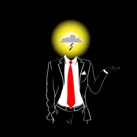 red tie: Man Silhouette Suit Red Tie Cloud With Lightning Head Danger Concept Black Background Contour Outline Vector Illustration Illustration