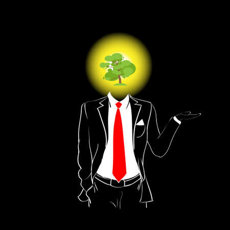 red tie: Man Silhouette Suit Red Tie Green Tree Head Concept Black Background Contour Outline Vector Illustration Illustration