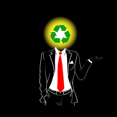 cycle suit: Man Silhouette Suit Red Tie Recycle Green Symbol Head Concept Black Background Contour Outline Vector Illustration Illustration
