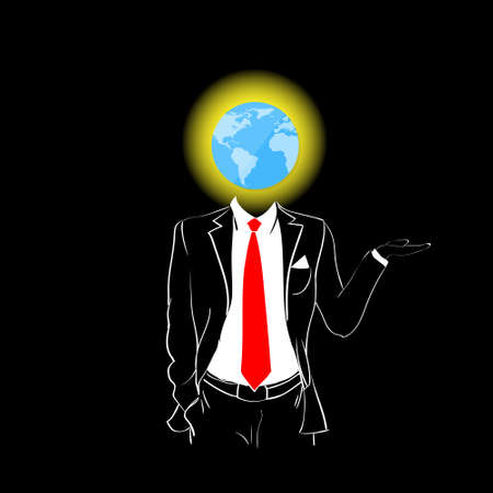 red tie: Man Silhouette Suit Red Tie Globe Earth Head Concept Black Background Contour Outline Vector Illustration