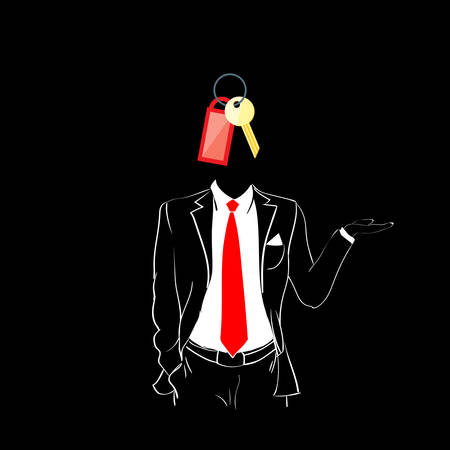 red tie: Man Silhouette Suit Red Tie Key Head Black Background Contour Outline Vector Illustration