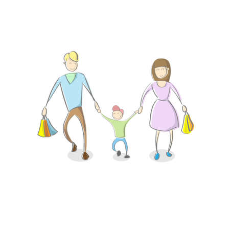 father and son holding hands: Family Parent With Son Holding Shopping Bags Flat Vector Illustration