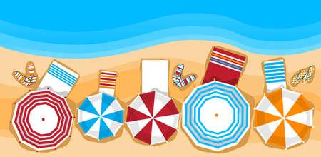 夏天海滩假期sunbed与伞沙子热带横幅顶角视图平的传染媒介例证