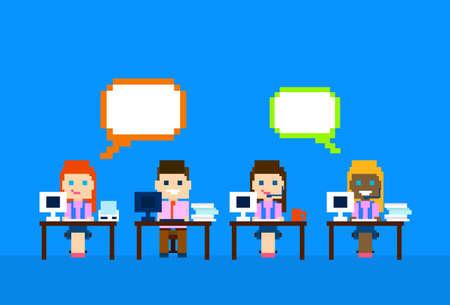 Equipo de trabajo del ordenador, la mujer del hombre Call Center operadores de atención al Cliente Chat personas Grupo burbuja Ilustración vectorial Comunicación en Internet