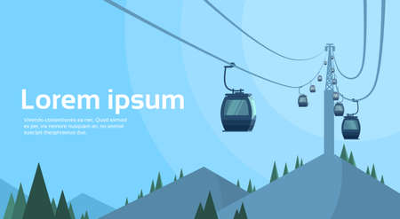 rope way: Cable Car Transportation Rope Way Over Mountain Hill Nature Background Banner With Copy Space Flat Vector Illustration