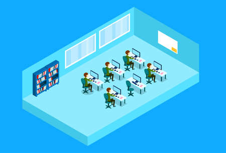 school computer: Business People Group Working At Computer Office Worker Study Class Isometric Vector Illustration