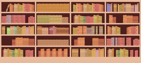 Book Shelves Library Interior Flat Vector Illustration