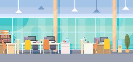 Modern Office Inter Workplace Bureau Flat Vector Illustration Stock Illustratie