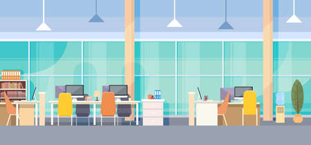office space: Modern Office Interior Workplace Desk Flat Vector Illustration