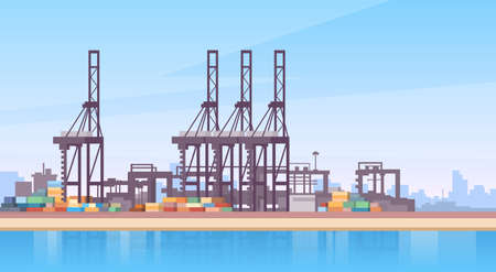 Industrial Sea Port Cargo Logistics Container Ship Crane Flat Vector Illustration Çizim
