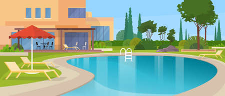 swimming pool home: Swimming Pool Big Modern Villa Hotel House Exterior Flat Design Vector Illustration