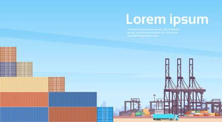 Logistics Cargo Container Industrial Sea Port Freight Warehouse Terminal Ship Crane Flat Vector Illustration