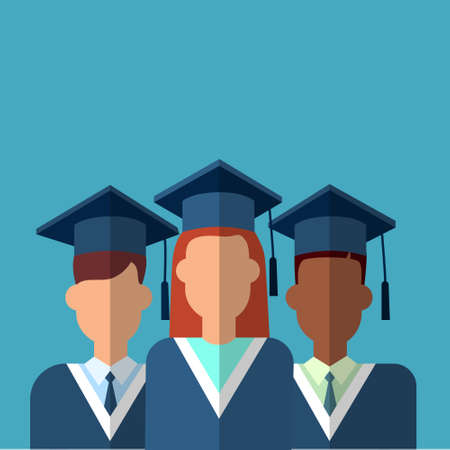 graduation gown: Student Group Graduation Gown Cap Flat Vector Illustration Illustration