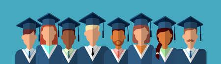 graduation gown: Student Group Graduation Gown Cap Banner Flat Vector Illustration