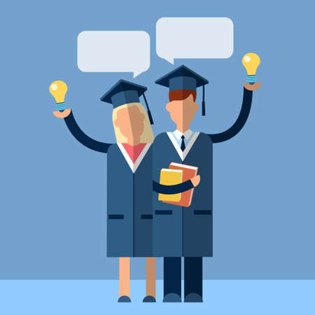 chat box: Student Couple Graduation Gown Woman Man Hold Light Bulb With Chat Box Flat Vector Illustration
