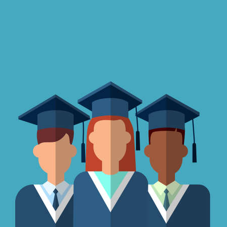 cap and gown: Student Group Graduation Gown Cap Flat Vector Illustration Illustration