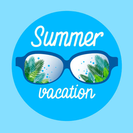 summertime: Eye Glasses With Summer Sea Island Seaside Vacation Flat Vector Illustration
