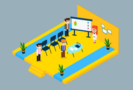 business meeting: Business People Group Conference Meeting 3d Isometric Design Vector Illustration