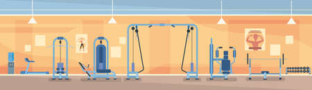 Sport Gym Interior Workout Equipment Flat Vector Illustration