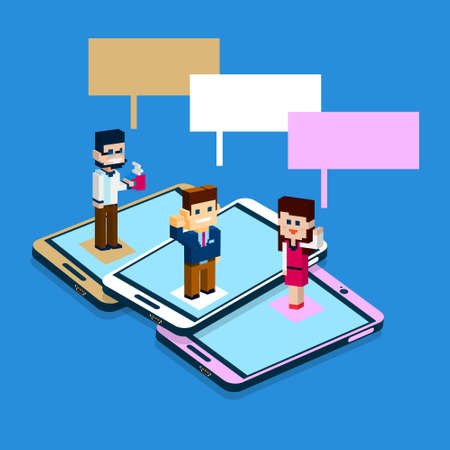 smart phone woman: Business People Stand On Big Cell Smart Phone Social Network Communication Man Woman With Chat Bubble 3d Isometric Flat Design Vector Illustration